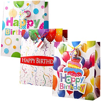 Wholesale Large Happy Birthday Gift Bags Matte SKU 1281112
