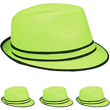 6f63b501a Lime Green Fedora Hat with Black Piping Detail