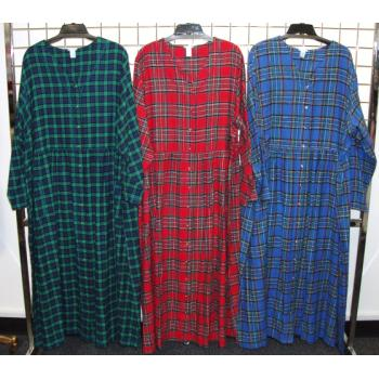 Wholesale Womens Plus Size Plaid Flannel Night Gown Sku 426774