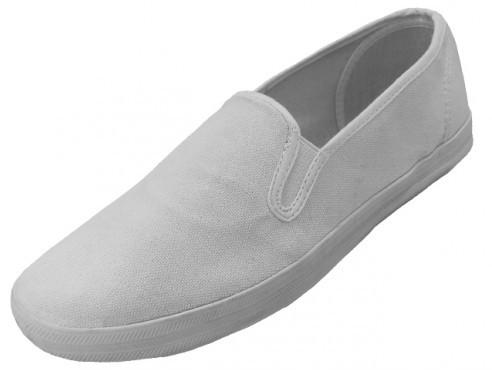 White Color Slip On Canvas Shoes Size