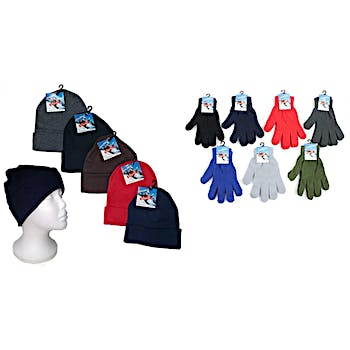 dd0fe5c8009 Premium Adult Cuffed Knit Hats and Adult Magic Stretch Gloves Combo Packs