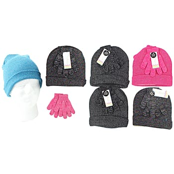 3ada2358fa87d Assorted Girl s Ribbed Beanie Hat  amp  Magic Texting Gloves Set