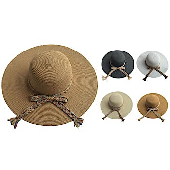 Wholesale Women s Woven Sun Hat with Rope Bow (SKU 1996932) DollarDays d34bbd10e7b