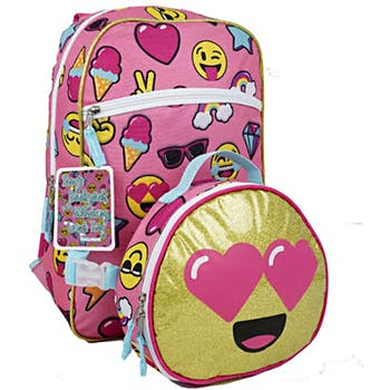 Wholesale 17In Emoji Print Backpack With Lunch Bag - Assorted (SKU ... 42f5e8299a464
