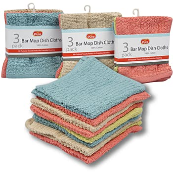 Assorted Bar Mop Dishcloth - 3 Pack