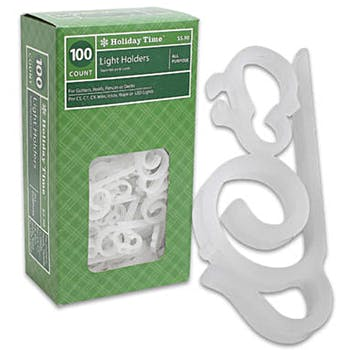 100 piece holiday time light holder set white