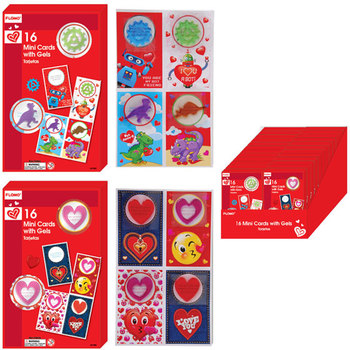 Wholesale 16 Count Boxed Valentine Cards With Gel Stickers Sku