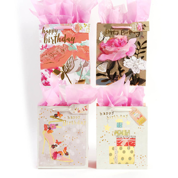 Wholesale Extra Large Premium Big Flower Happy Birthday Matte Finish Gift Bag With Hot Stamping And Die Cut Tag SKU 2315442 DollarDays