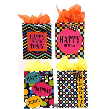 Wholesale Large UV Varnish Bold Geometric Happy Birthday Gift Bag SKU 2315522 DollarDays