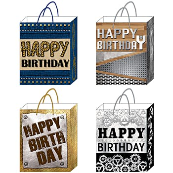 Wholesale Large Happy Birthday Printed Matte Finish Gift Bags SKU