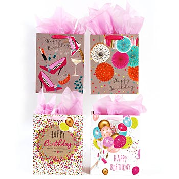 Wholesale Extra Large Premium Confetti Balloon Birthday Party Gift Bag With Glitter And A Die Cut Tag SKU 2315444 DollarDays