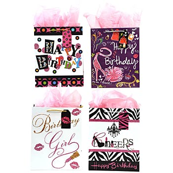 Wholesale Large Pink Glitter Matte Finish Birthday Party Gift Bag