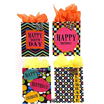 Wholesale Large UV Varnish Bold Geometric Happy Birthday Gift Bag