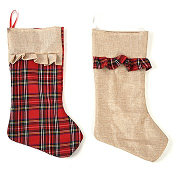 burlap and plaid christmas stockings - Plaid Christmas Stockings