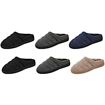 e005c6baa79 Wholesale Mens Heathered Jersey-Knit Slippers With Sherpa Lining (SKU  2329454) DollarDays
