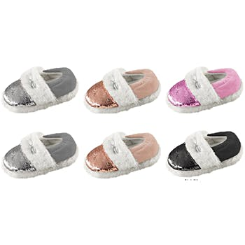 b7dd2788dbd Wholesale Toddler Girls Mini Sequin Slippers With Faux Fur Trimming ...