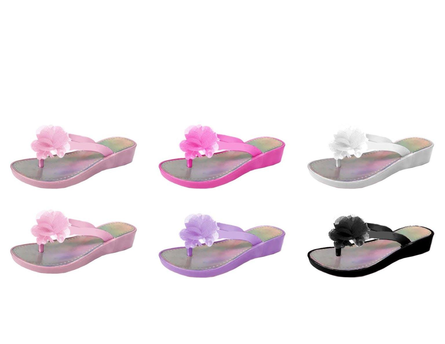 NWT Gymboree Outlet Girls Flip Flops Bag Lot Youth 2 3 Flamingo Sandals Shoes