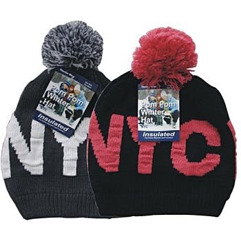 3cdcb59cc NYC Insulated Winter Hats with Pom Poms