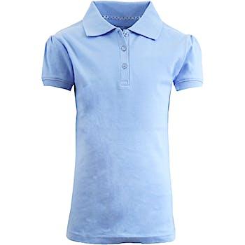 6ee13c4cd Wholesale Girls Light Blue S S Interlock Polo Shirts - Sizes 7-16 ...