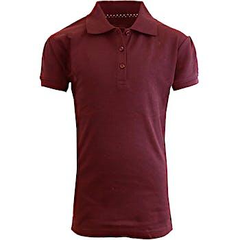 3ddfe3144 Wholesale Girls Burgundy S S Interlock Polo Shirts - Sizes 7-16 (SKU ...