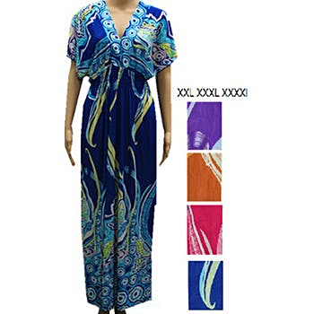 b29f511eccfe4 V-Neck Plus Size Women s Print Maxi Dresses