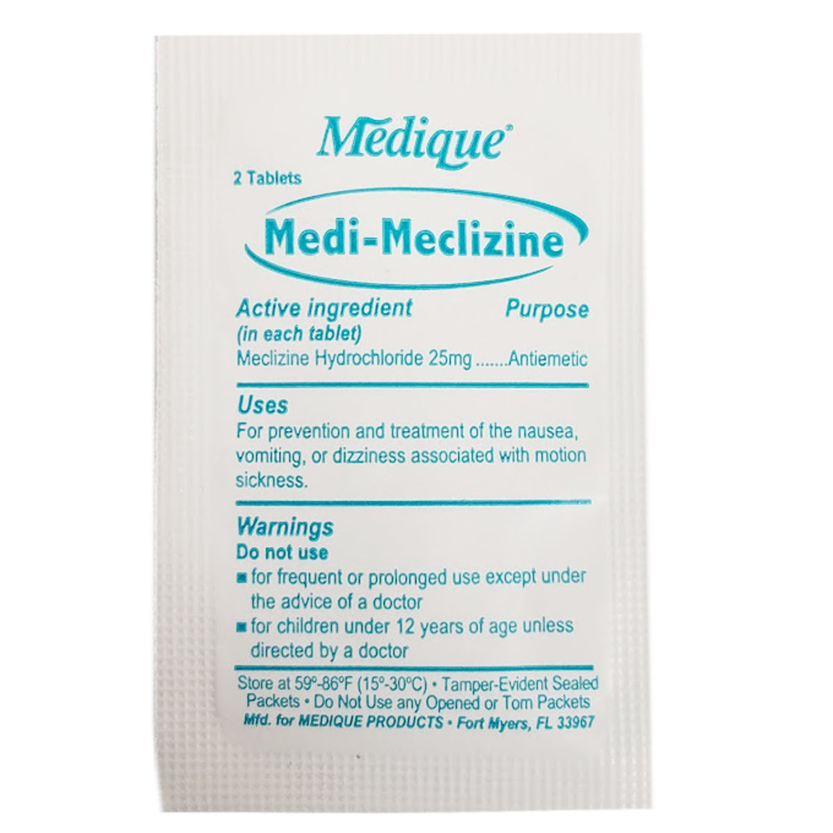 Wholesale Medi-Meclizine for Motion Sickness - Two-Tablet Packet (SKU  1487960) DollarDays