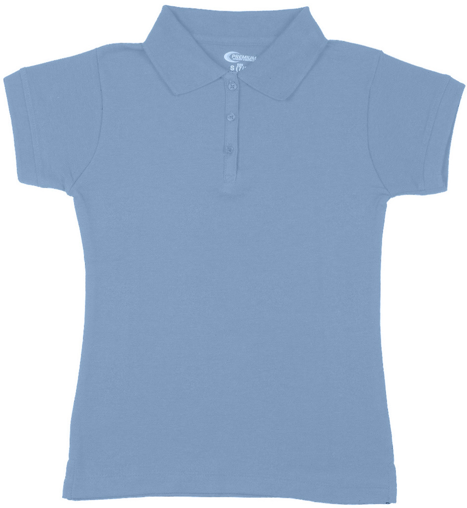 Wholesale Premium Light Blue Girls Polo Shirts Size 1012 M