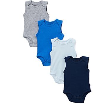 af0898e3c Wholesale Baby Tank Sleeve Solid Colors 4 Pk Onesies - Blue 0-12m ...