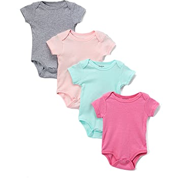 a537ad092 Wholesale Baby Girls 4 Pk Short Sleeve Onesies - Solid 12-24m (SKU ...