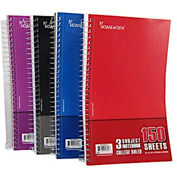 Wired Notebook - 3 subject - 150 Sh - 9 5