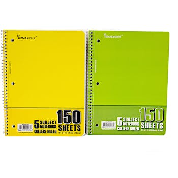 5 Subject College Ruled Notebook -150 Sheets