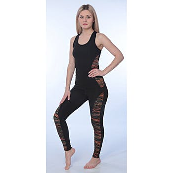 59f1418c9a Women's Yoga Fitness 2 Piece Tank Top and Leggings Pants Set - Orange/Black  -